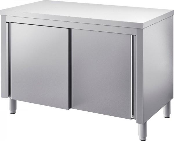 Edelstahl Tisch mit Unterschrank Tiefe 700 + Heizbausatz mit Lüfter vorgesehen