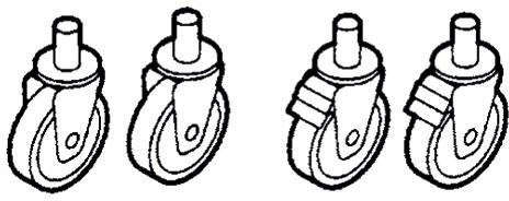 Rädersatz: 2 mit Bremse, 2 ohne Bremse