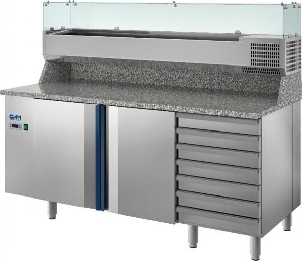 Edelstahl Pizzakühltisch TP mit Granitarbeitsplatte und Kühlaufsatzvitrine GN 1/4